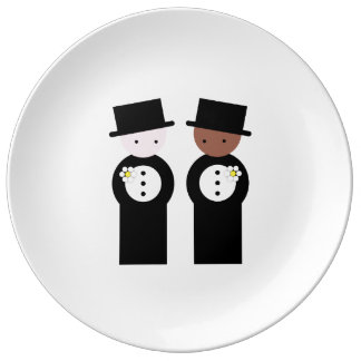 Two grooms one caucasian, one colored porcelain plates
