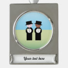 Two grooms, one caucasian, one coloured silver plated banner ornament