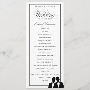 Two Grooms Silhouettes Bow Tie Gay Wedding Program