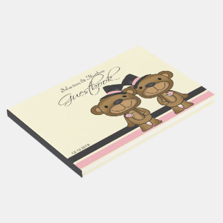 Two Grooms Teddy Bears Gay Wedding Custom Guest Book