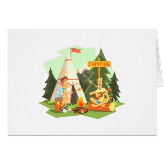 Two Guys Enjoying Camping In Forest. Cool Colorful Card