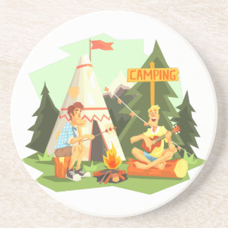 Two Guys Enjoying Camping In Forest. Cool Colorful Coaster