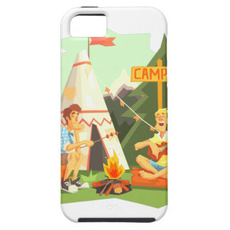 Two Guys Enjoying Camping In Forest. Cool Colorful iPhone 5 Cover