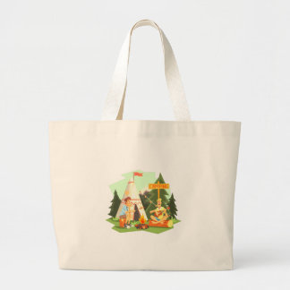 Two Guys Enjoying Camping In Forest. Cool Colorful Large Tote Bag