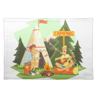 Two Guys Enjoying Camping In Forest. Cool Colorful Placemat