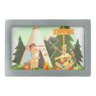 Two Guys Enjoying Camping In Forest. Cool Colorful Rectangular Belt Buckle