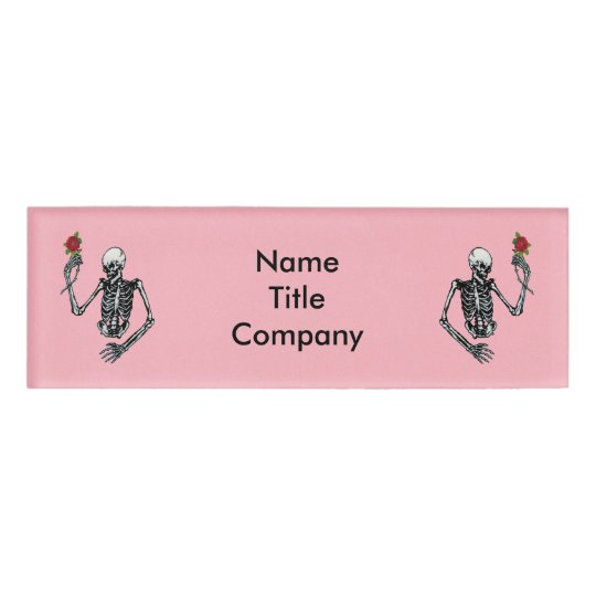 Two Half Skeletons Raised Arms Holding Red Roses Name Tag