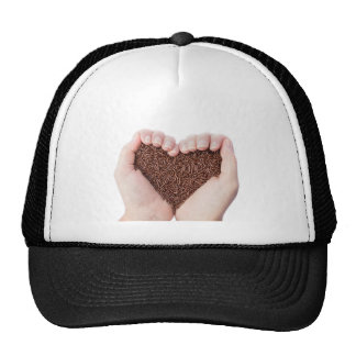 Two hands holding chocolate sprinkles cap