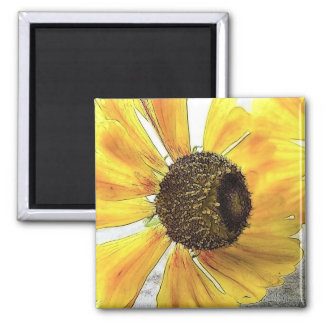 Two Happy-Faced Helenium Flowers Square Magnet