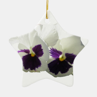 TWO HAPPY PANSIES CERAMIC ORNAMENT