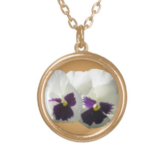 TWO HAPPY PANSIES GOLD PLATED NECKLACE
