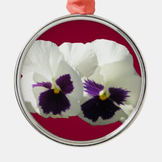 TWO HAPPY PANSIES METAL ORNAMENT