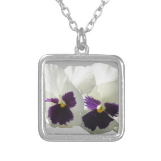 TWO HAPPY PANSIES SILVER PLATED NECKLACE