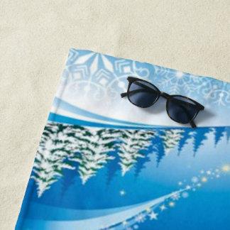 Two Happy Snowmen Beach Towel