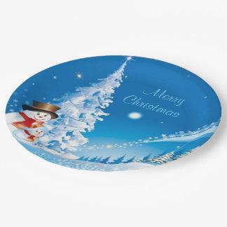Two Happy Snowmen Paper Plate