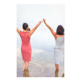 Two happy women standing in water.JPG Stationery