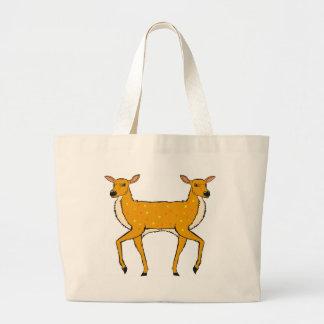 Two Headed Deer Vector Sketch Large Tote Bag