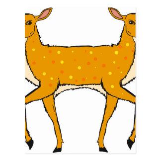 Two Headed Deer Vector Sketch Postcard