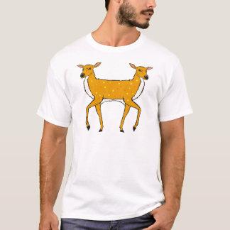 Two Headed Deer Vector Sketch T-Shirt