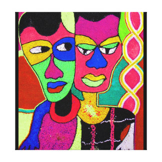 Two Heads Acrylic Oil On Canvas By Moji Okubule Canvas Print