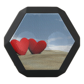Two heart on the beach - 3D render Black Bluetooth Speaker