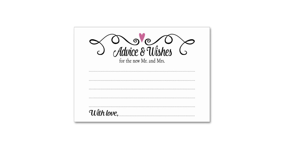 Wedding Card Wishes.Two Hearts Advice And Wishes Wedding Card Zazzle Com Au
