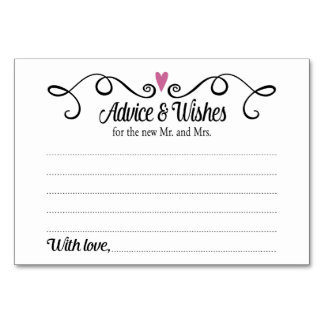 Two Hearts Advice and Wishes Wedding Card Table Cards