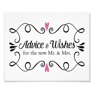 Two Hearts Advice and Wishes Wedding Sign Art Photo