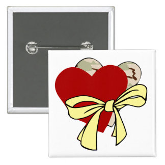 Two hearts and yellow ribbon buttons