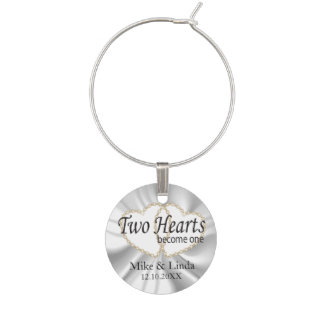 Two Hearts Become One in White Satin Wine Charm