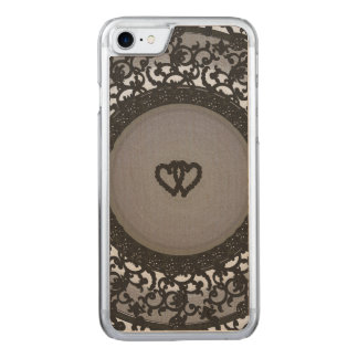 Two Hearts Black Sequin Look Carved iPhone 8/7 Case