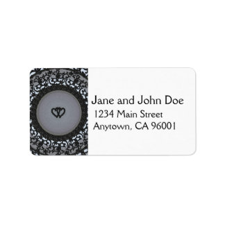 Two Hearts Black Sequin Look Address Label