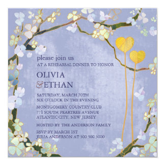 Two Hearts Blue Elegant Wedding Rehearsal DInner Card