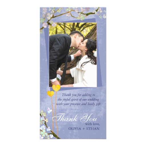 Two Hearts Blue Floral Wedding Thank You Photocard Customized Photo Card