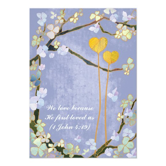 Two Hearts Blue Rustic Floral Wedding Card