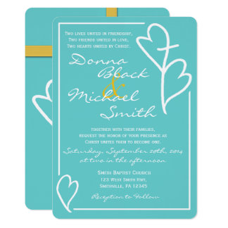 Two Hearts Cross Religious Wedding Invitation GLD
