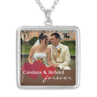 Two hearts custom photo red brown forever love necklaces