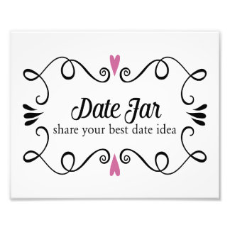Two Hearts Date Ja Buffet Wedding Sign Photo Print