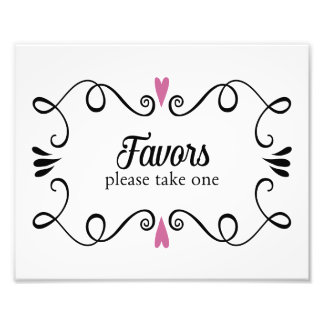 Two Hearts Favors Please Take One Wedding Sign