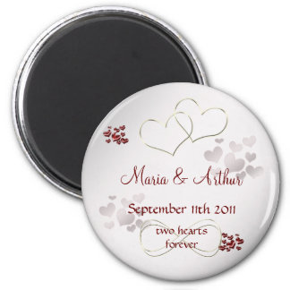 Two hearts forever 6 cm round magnet