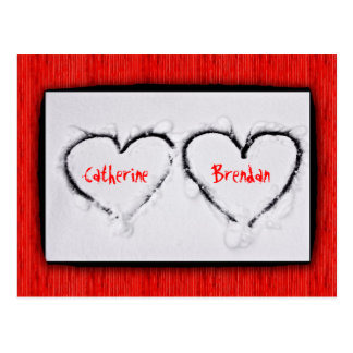 Two Hearts Fresh White Snow Red Corrugated Metal Postcard