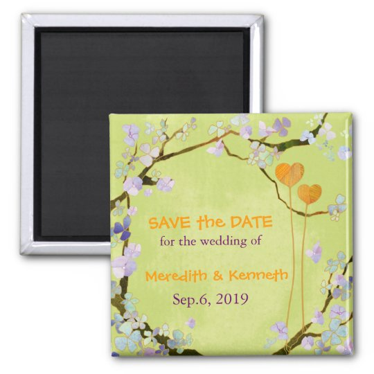 Two Hearts in Green Spring Wedding Save The Date Square Magnet