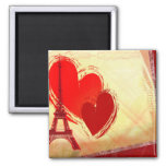 Two hearts in Paris Square Magnet
