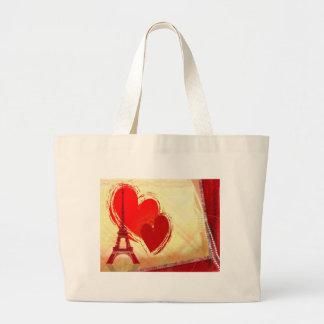 Two hearts in Paris Jumbo Tote Bag
