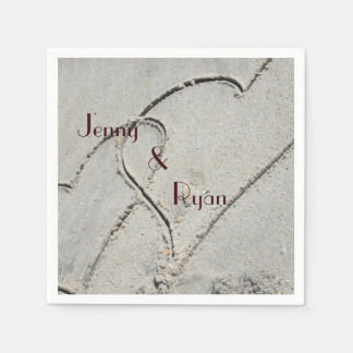 Two Hearts in Sand Napkins Disposable Napkins
