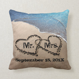 Two Hearts In The Sand Beach Wedding Pillow Cushion