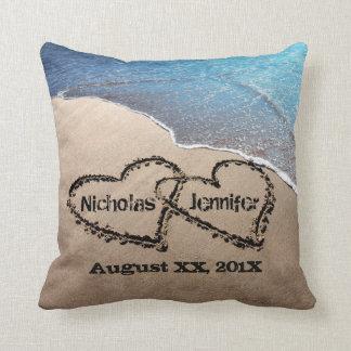Two Hearts In The Sand Beach Wedding Pillow Throw Cushion