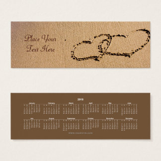 Two Hearts In The Sand Bookmark 2018 Mini Business Card
