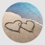Two Hearts In The Sand Classic Round Sticker
