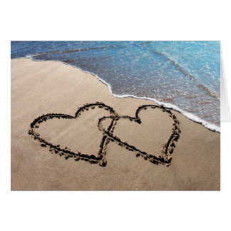 Two Hearts In The Sand Notecards Card
